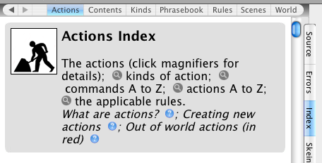 Actions tab in Inform 7