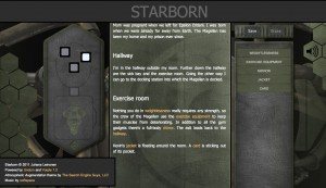 A screenshot of the story, showing the story text, the map and the keyword list