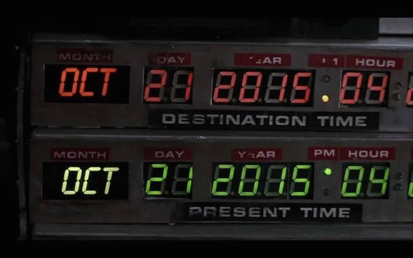Oct 21, 2015 shown on the Back to the Future time machine's display.