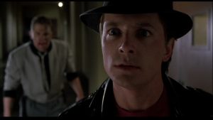 Screenshot from Back to the Future II with Marty and Biff