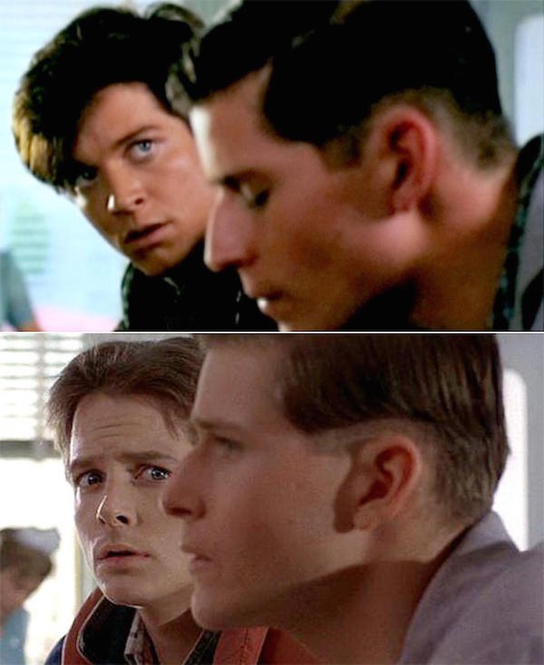 Two pictures from the same scene where Marty McFly looks at his young father in the past, the first one with Eric Stolz and the second with Michael J. Fox as Marty McFly