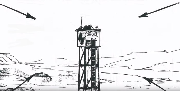 A storyboard frame showing a nuclear test tower
