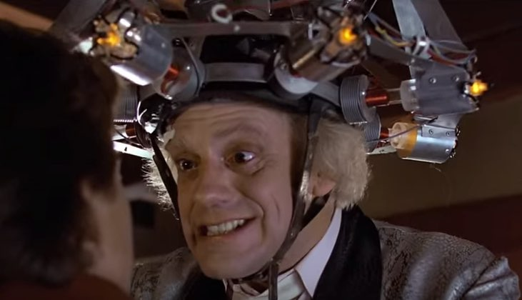 "Doc Brown wearing a ""mind reading device"" on his head"