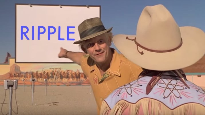 Doc Brown pointing at an outdoor cinema movie screen that has the Ripple logo on it