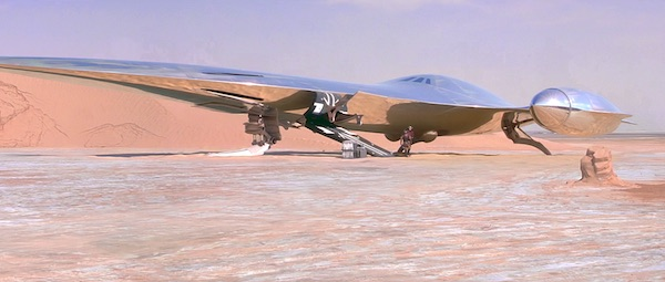 A silver starship from the Star Wars prequels