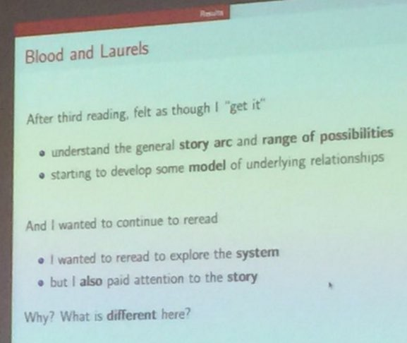 A slide about Blood and Laurels. Click to show contents in plaintext.