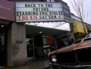A billboard crediting Stoltz as the star of Back to the Future